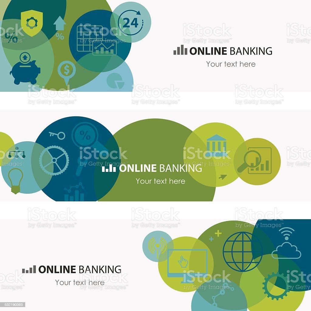 Online Banking Banners vector art illustration