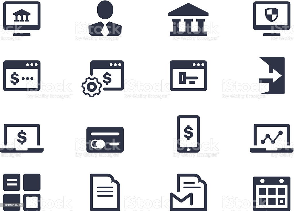 Online banking icons vector art illustration