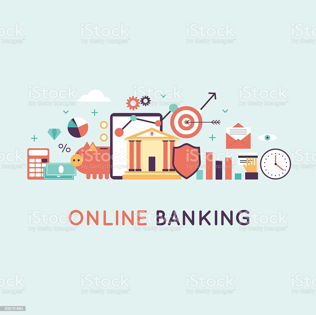 On-line banking, on-line payment time is money statistics and finance. vector art illustration