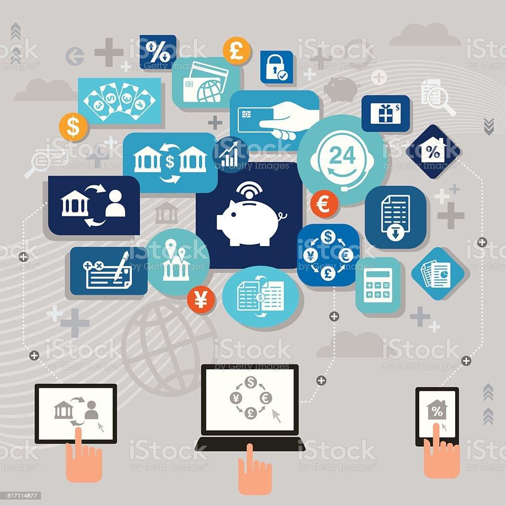 Online Banking vector art illustration