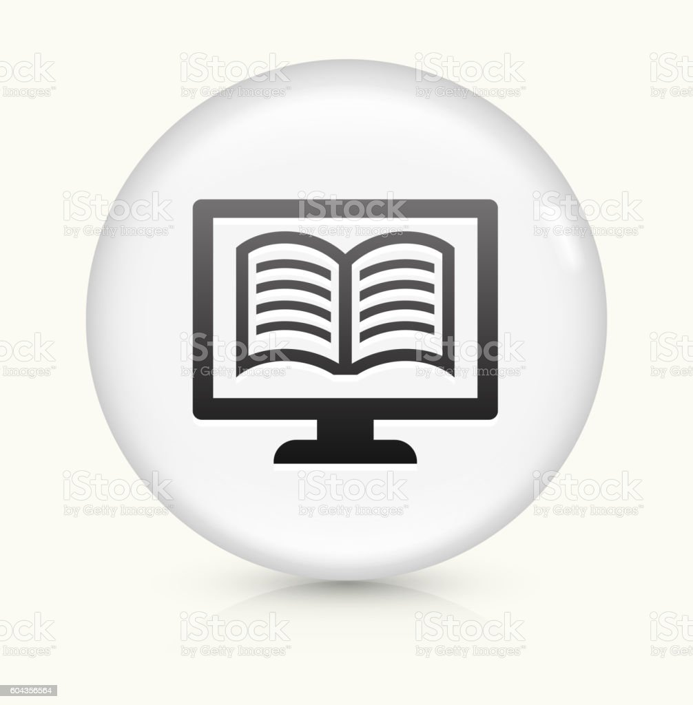 Online Book icon on white round vector button vector art illustration