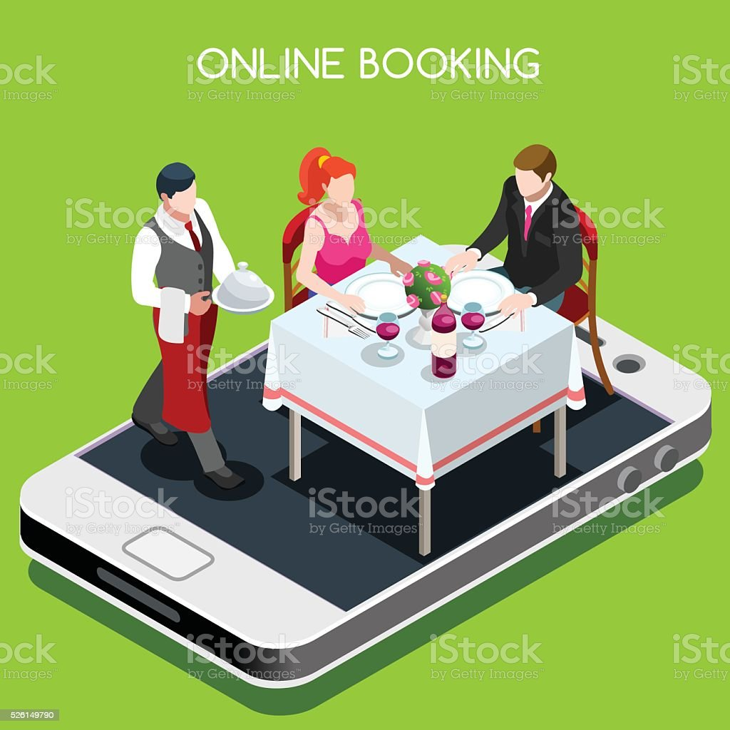 Online Booking Isometric People vector art illustration