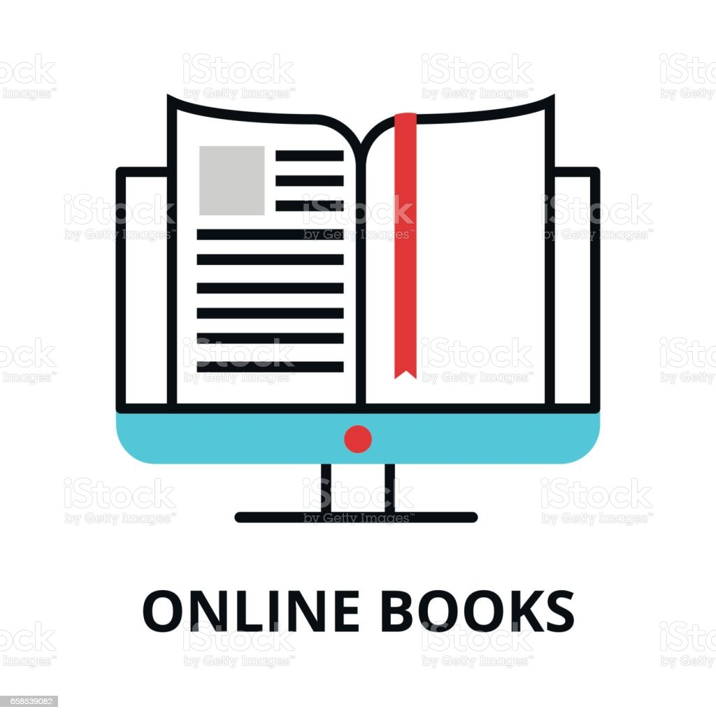 Online Books Icon, Flat Thin Line Vector Illustration Royaltyfree Stock  Vector Art