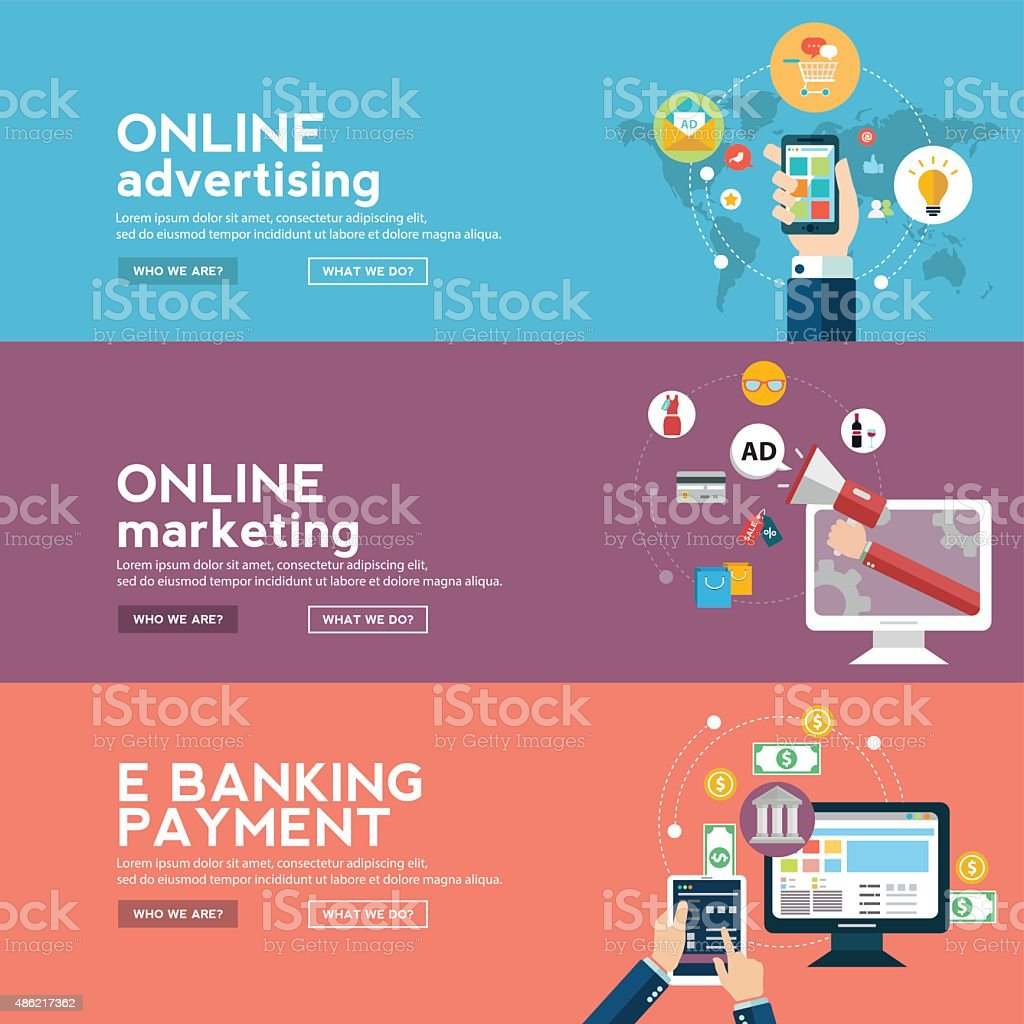 Online business banners set with advertising vector art illustration