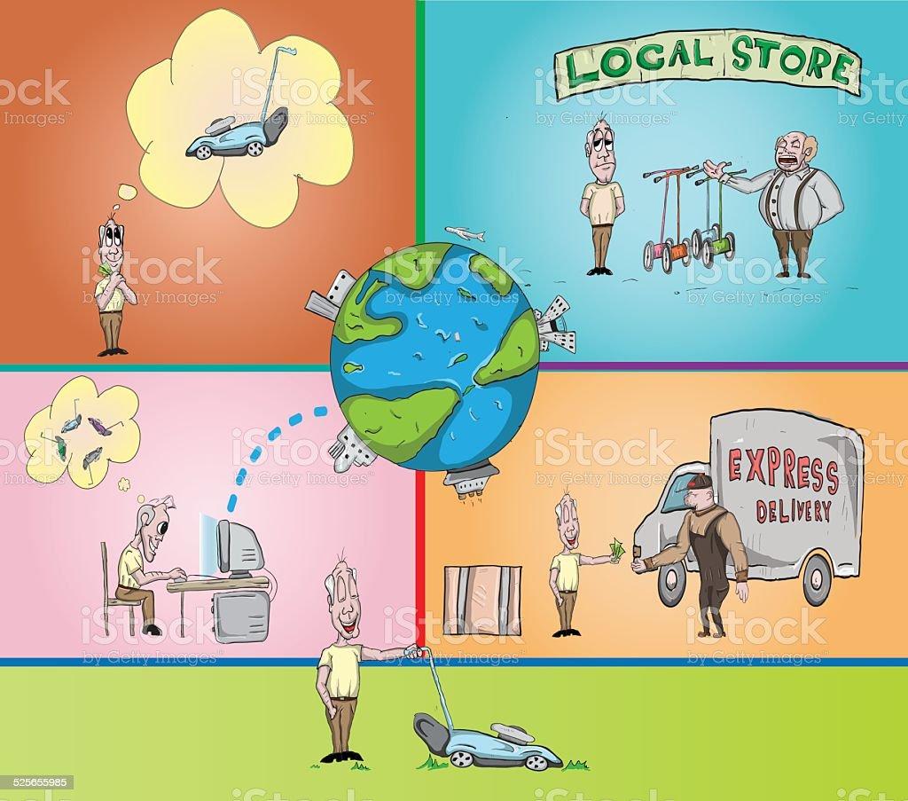 Online buying illustration vector art illustration