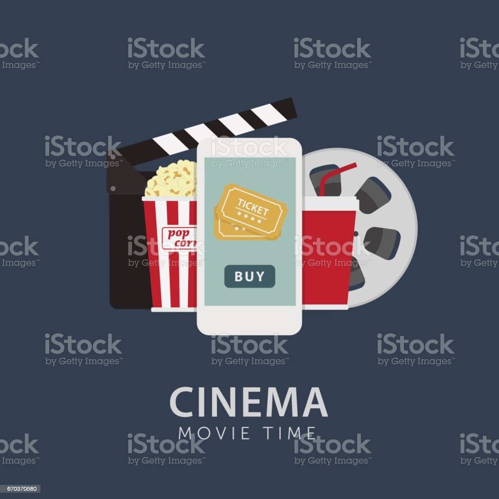 Online Cinema Ticket Illustration vector art illustration