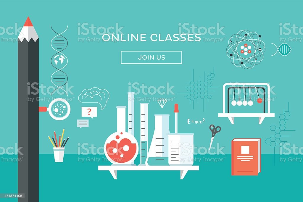 Online classes vector art illustration