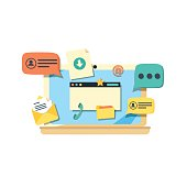 Online communication. Laptop with chat web
