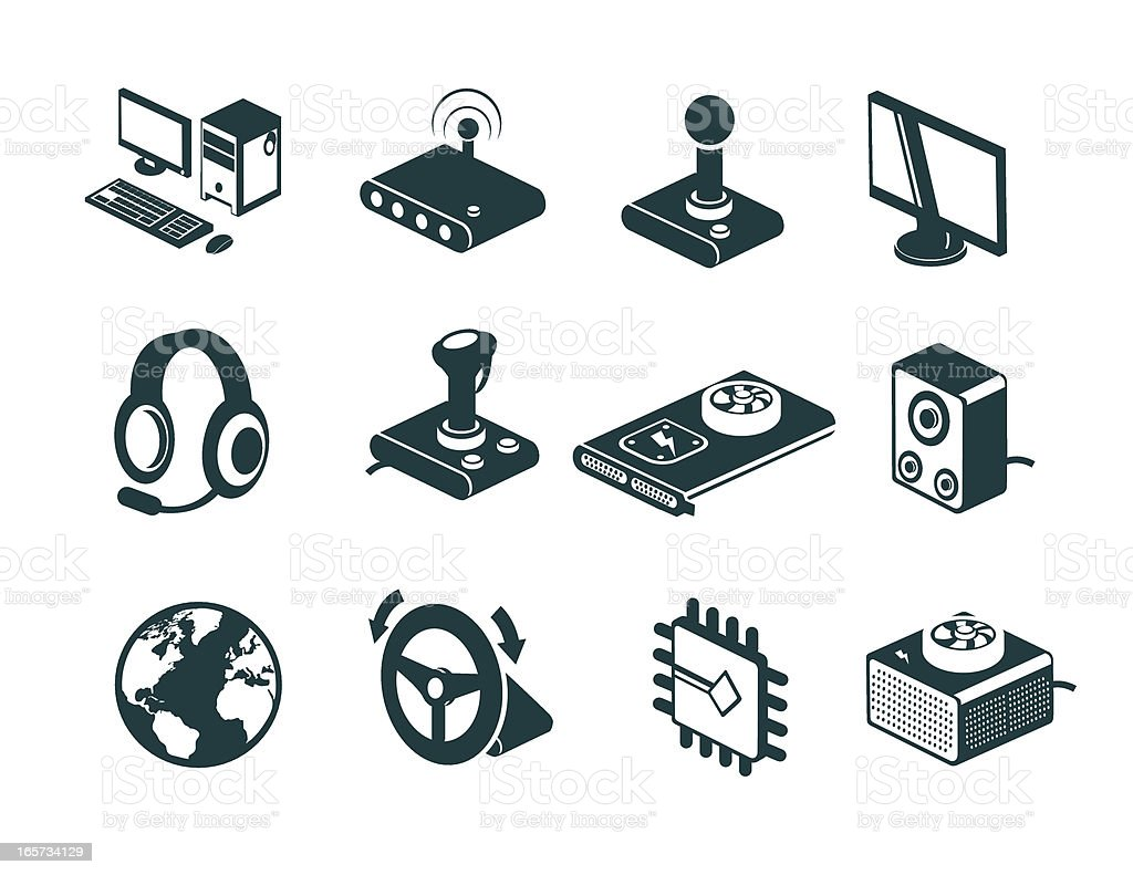 Online Computer Gaming Icons royalty-free stock vector art