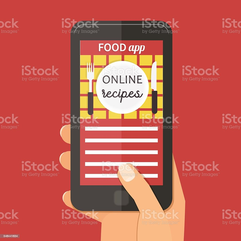 Online cooking recipes application. Vector flat app illustration. vector art illustration