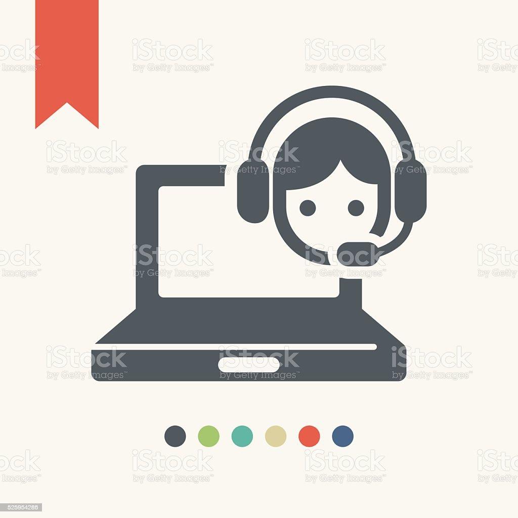 Online customer support icon vector art illustration