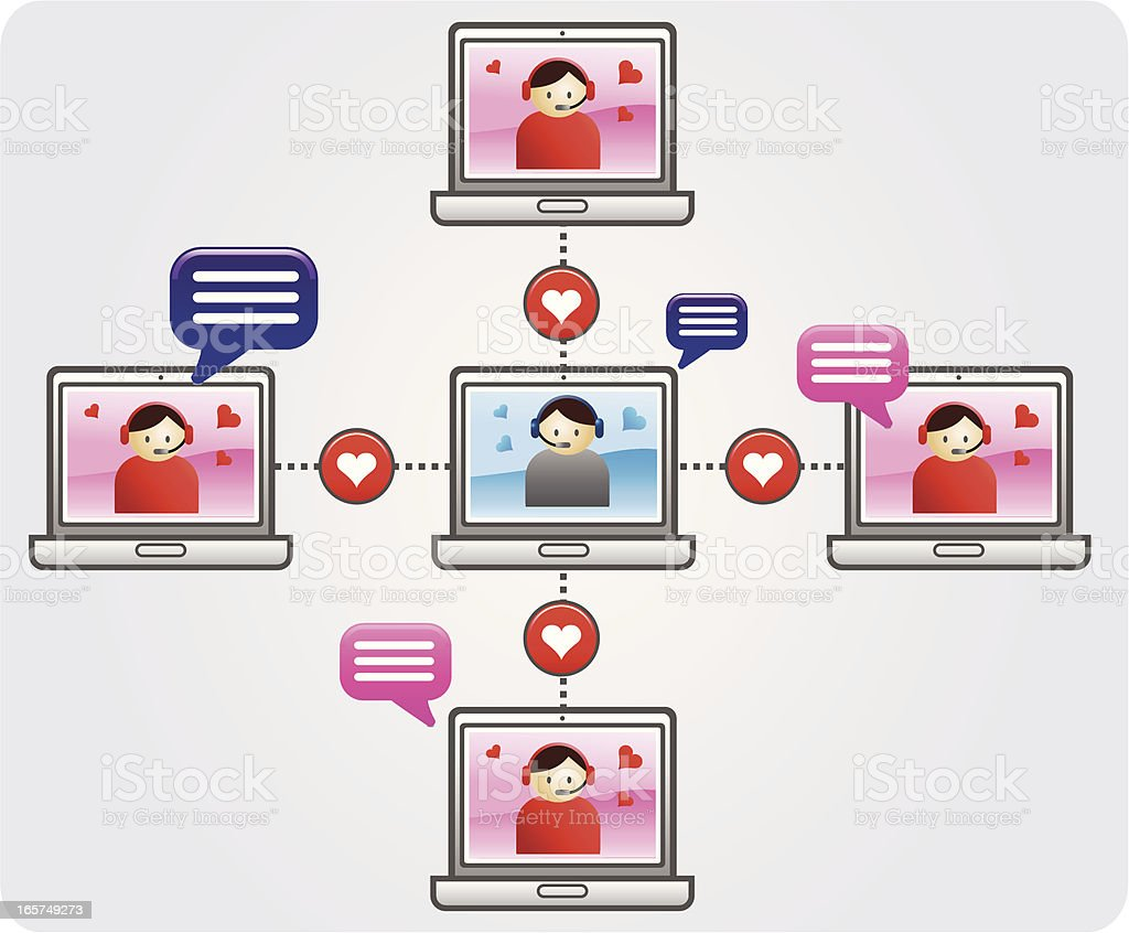Online dating and chatting royalty-free stock vector art