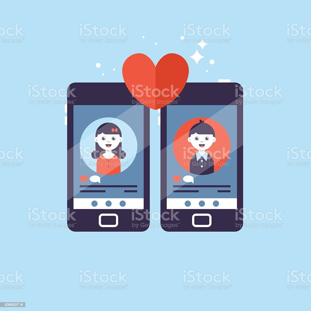 Online dating app concept with man and woman. Vector illustration vector art illustration