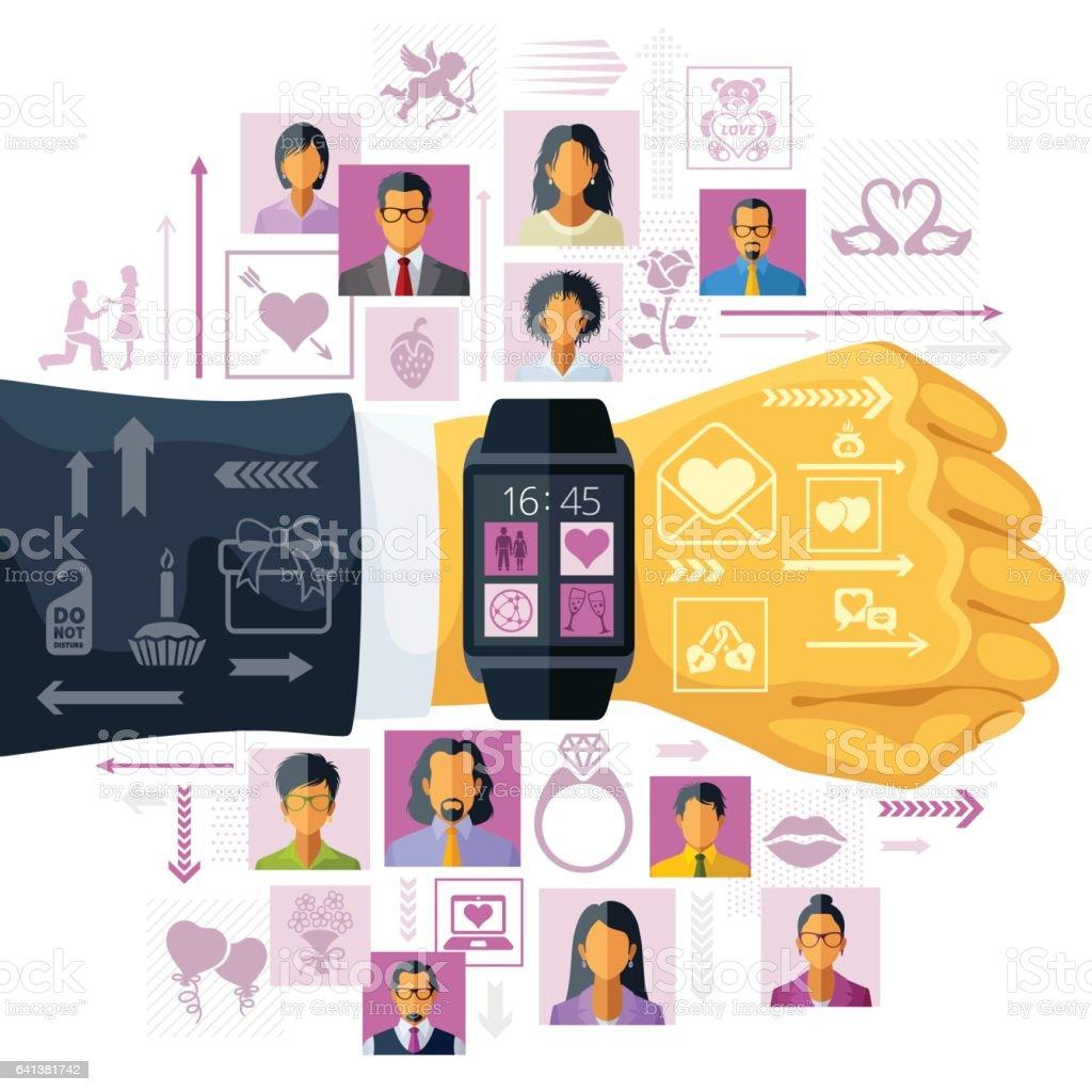 Online dating app vector art illustration