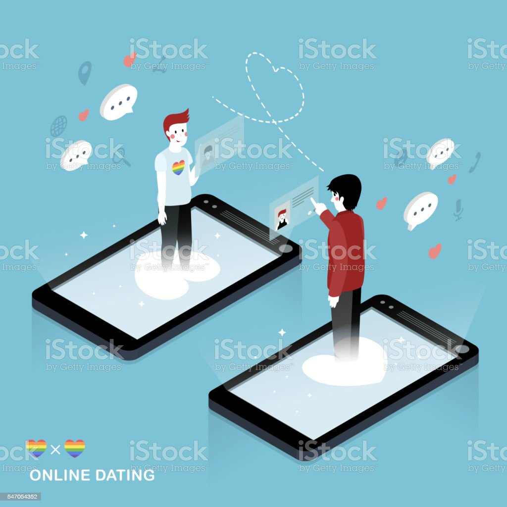 Online dating concept vector art illustration