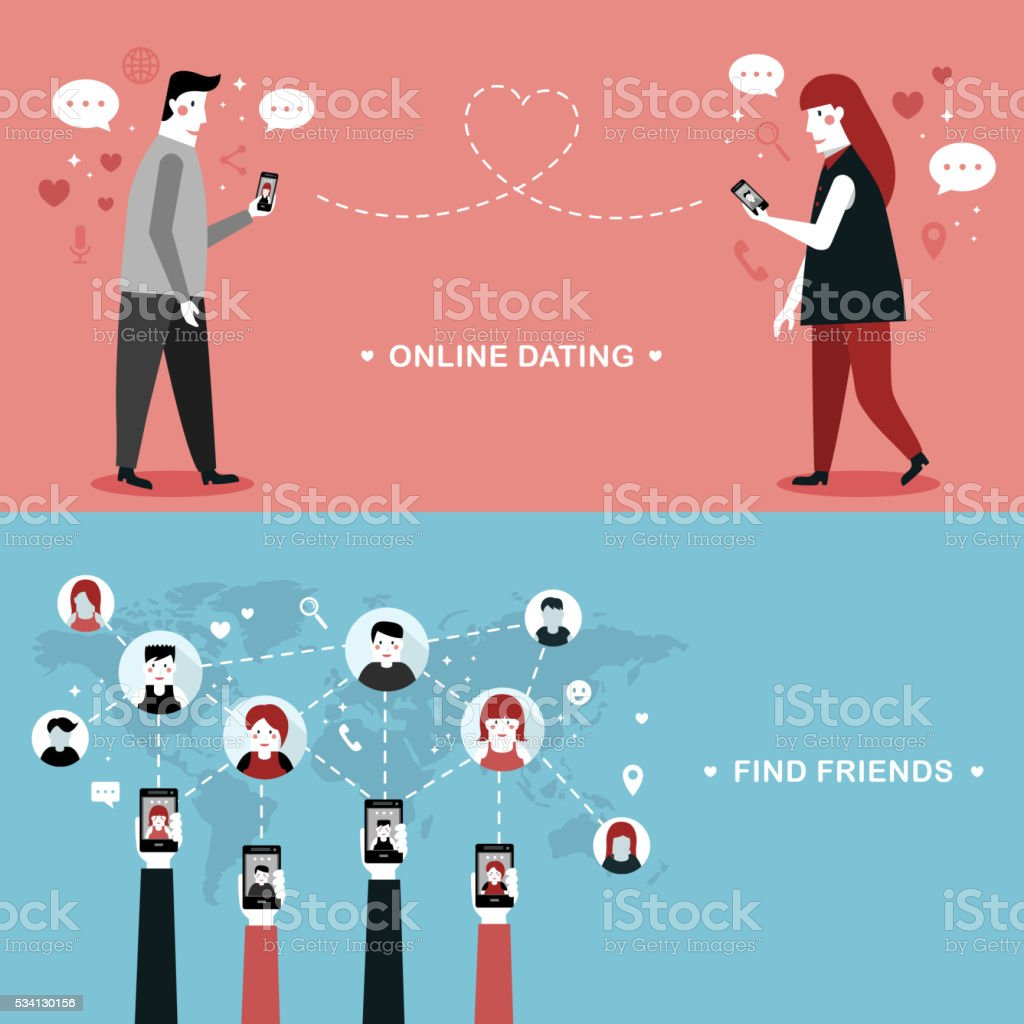 online dating flat design vector art illustration