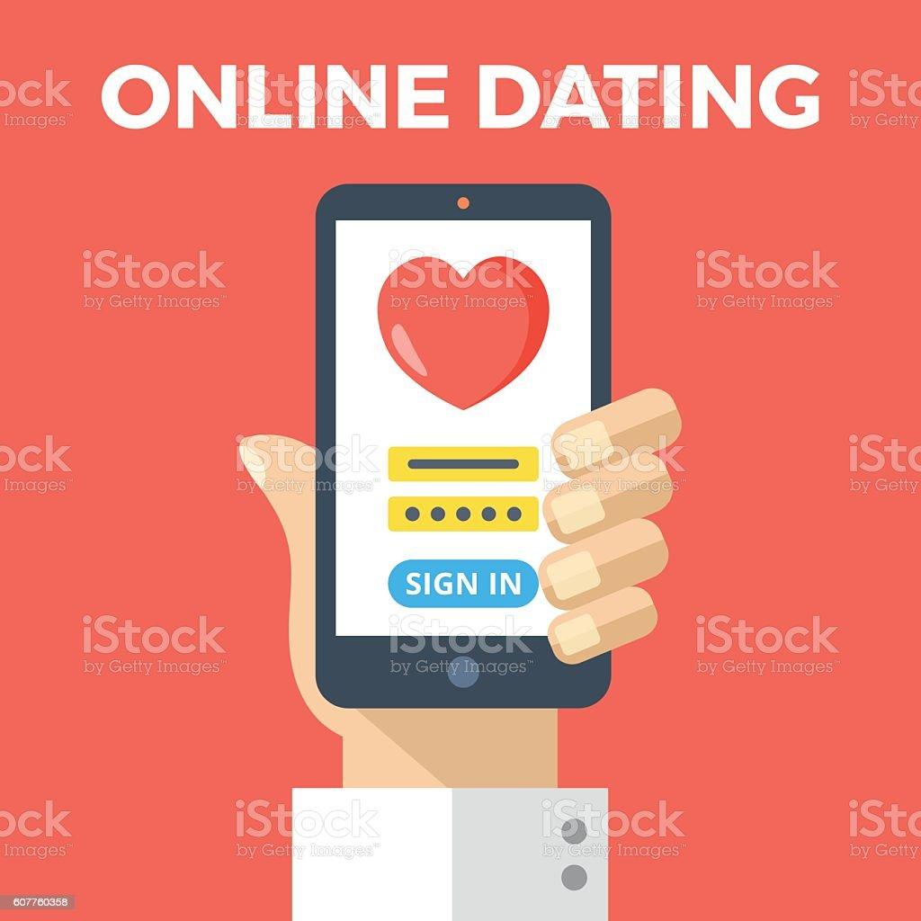 Online dating. Hand holding smartphone, online dating app login page vector art illustration