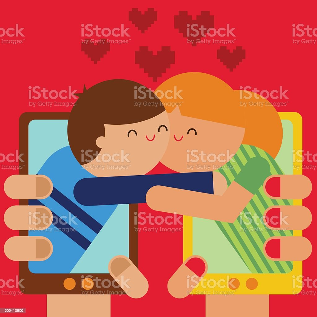 Online Dating vector art illustration