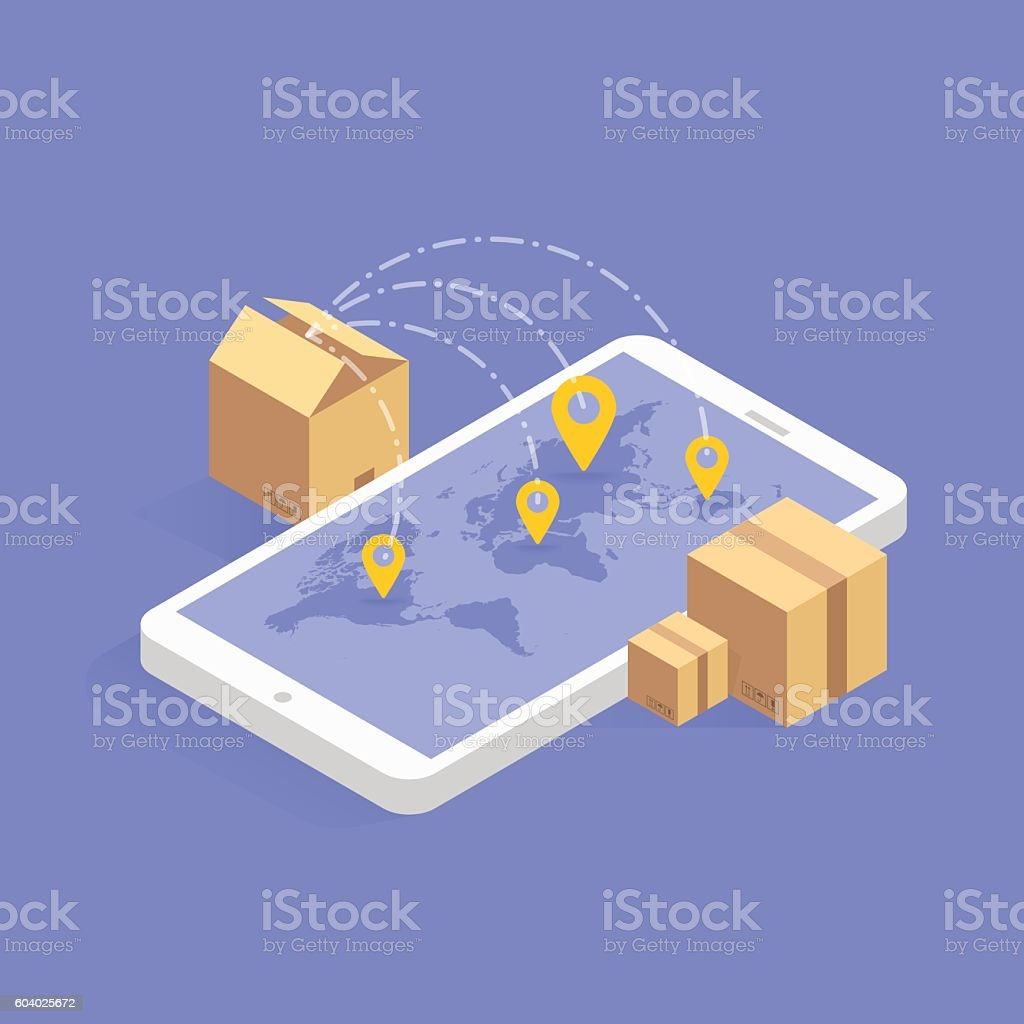 Online delivery tracking concept isometric icon. Vector illustration. Smart post vector art illustration
