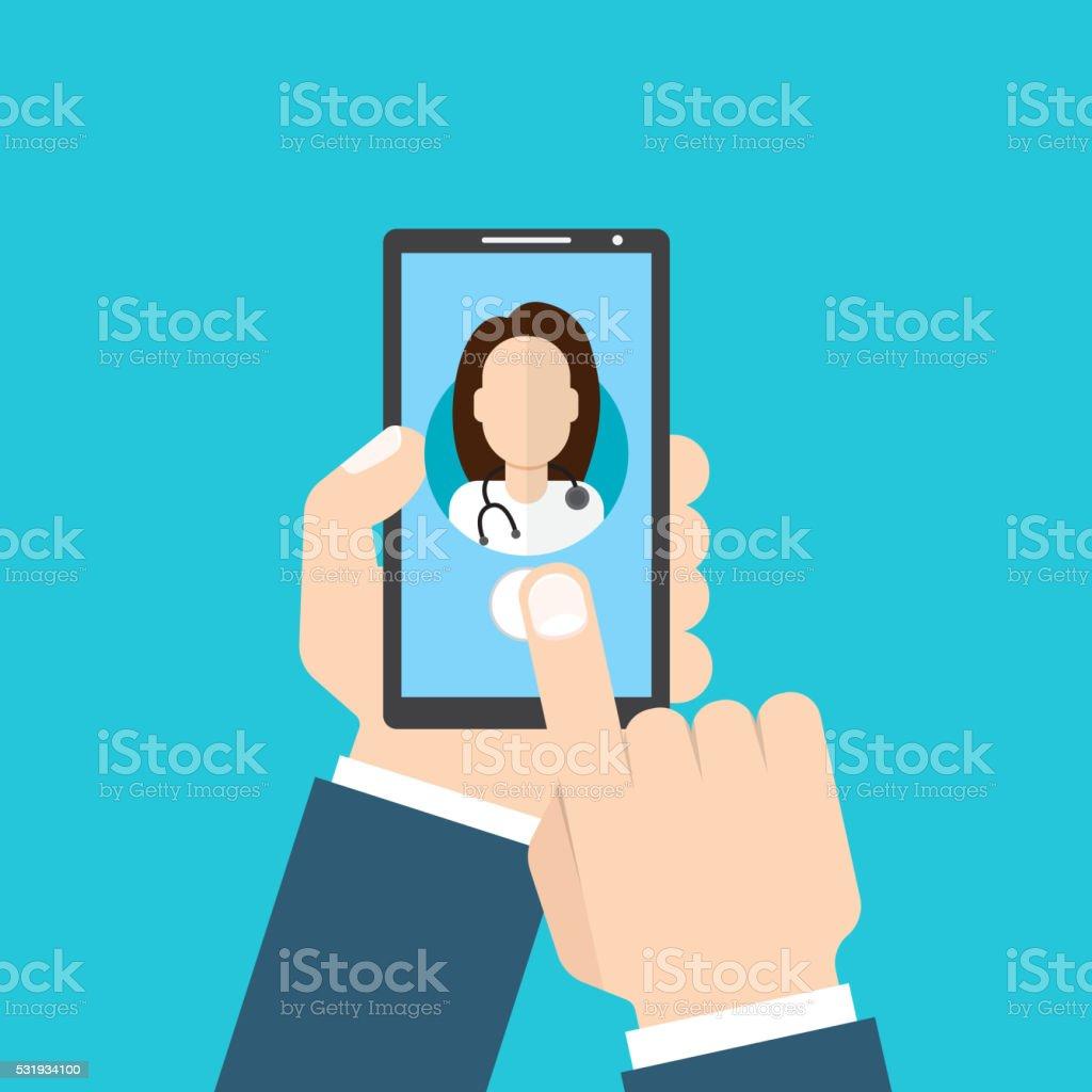Online Doctor female. Man holding smartphone vector art illustration