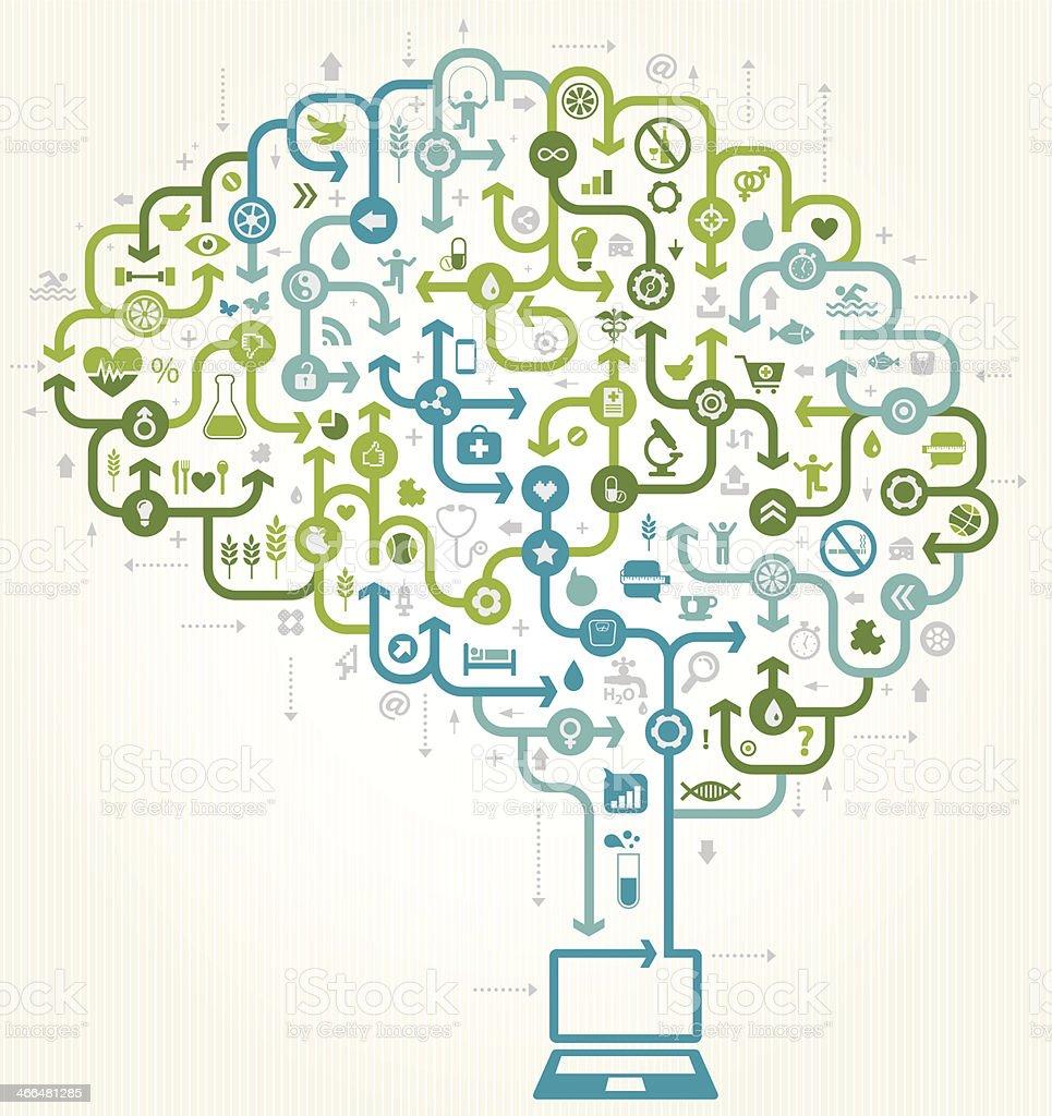 Online E Health vector art illustration