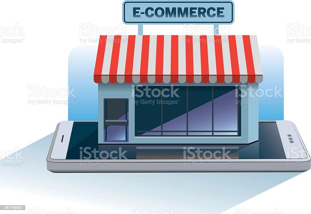 Online e-commerce shopping vector art illustration