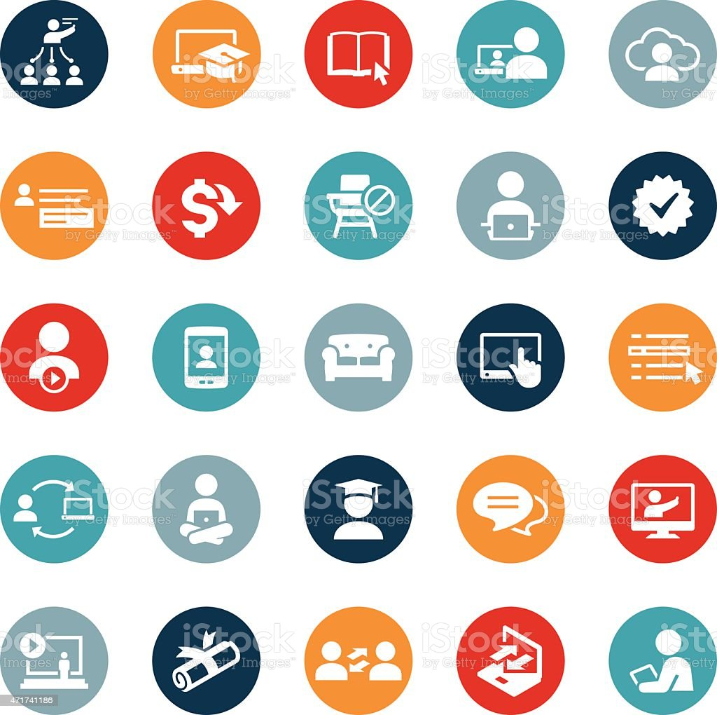 Online Education and E-Learning Icons vector art illustration