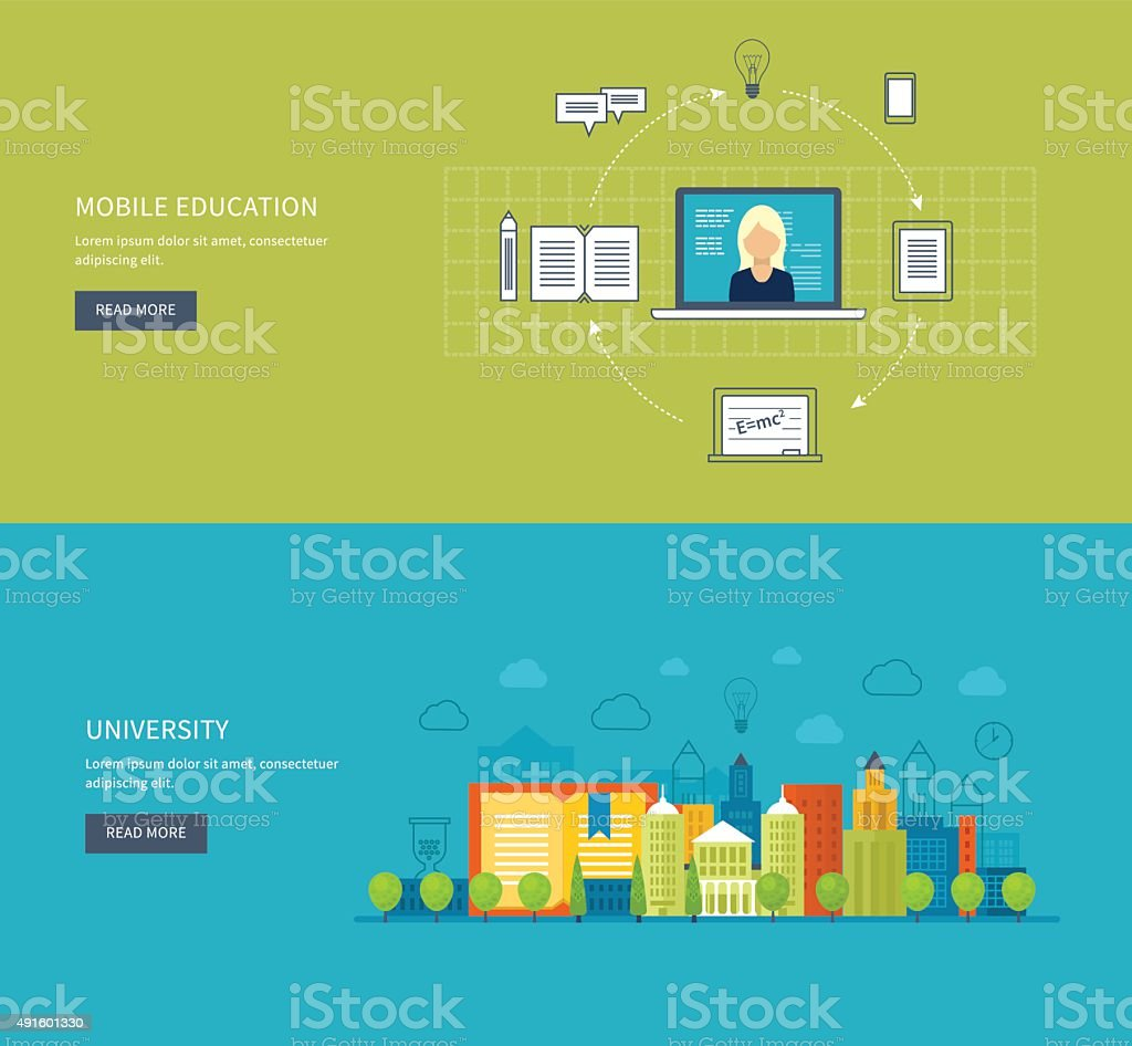 Online education and training vector art illustration