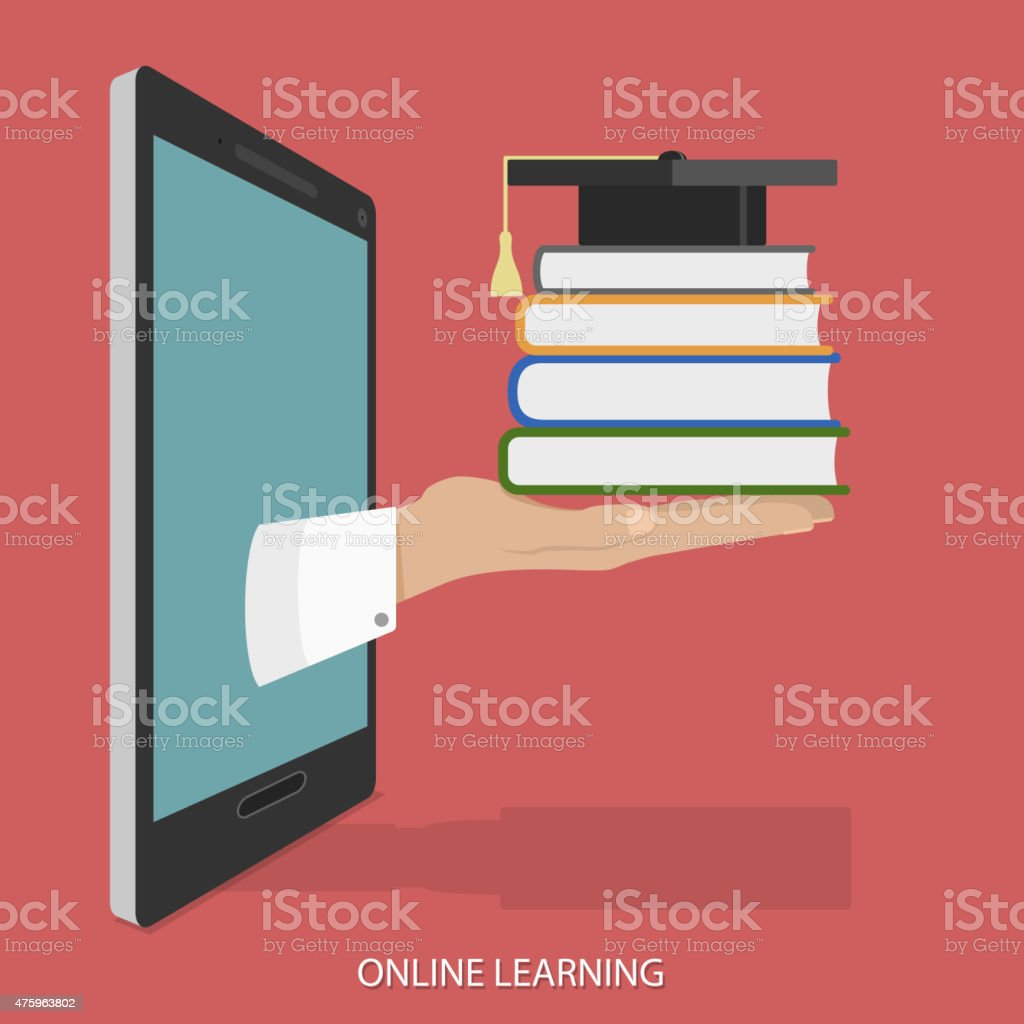 Online Education Flat Isometric Vector Concept. vector art illustration