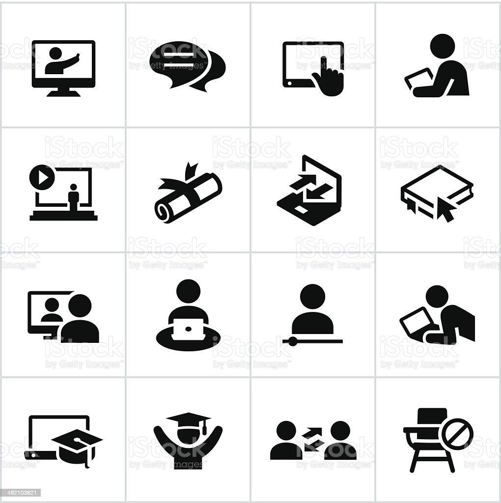 Online Education Icons vector art illustration