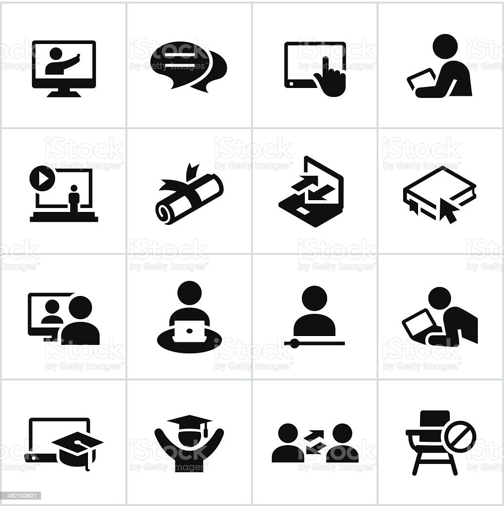 Online Education Icons vector art illustration