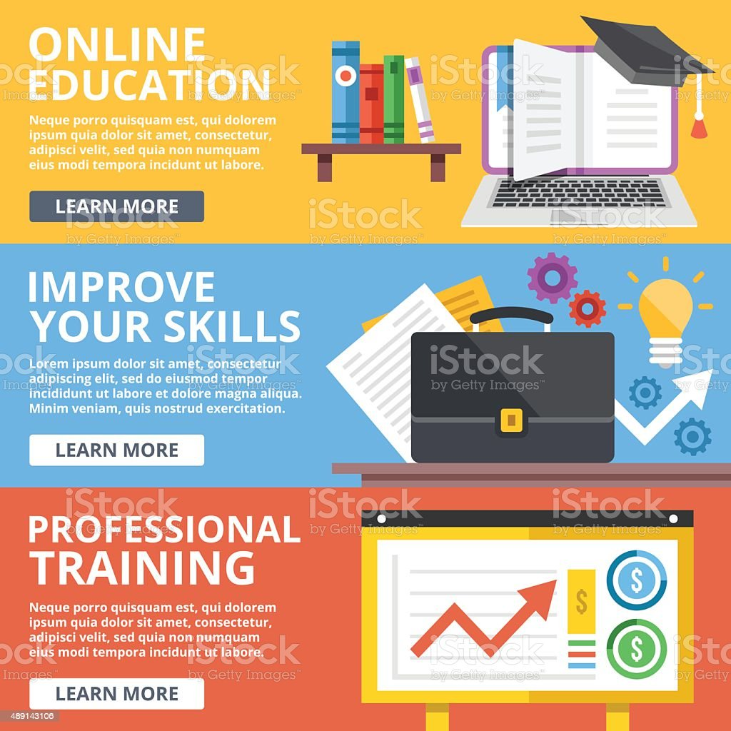 Online education, skills improvement, professional training flat illustration concepts set vector art illustration