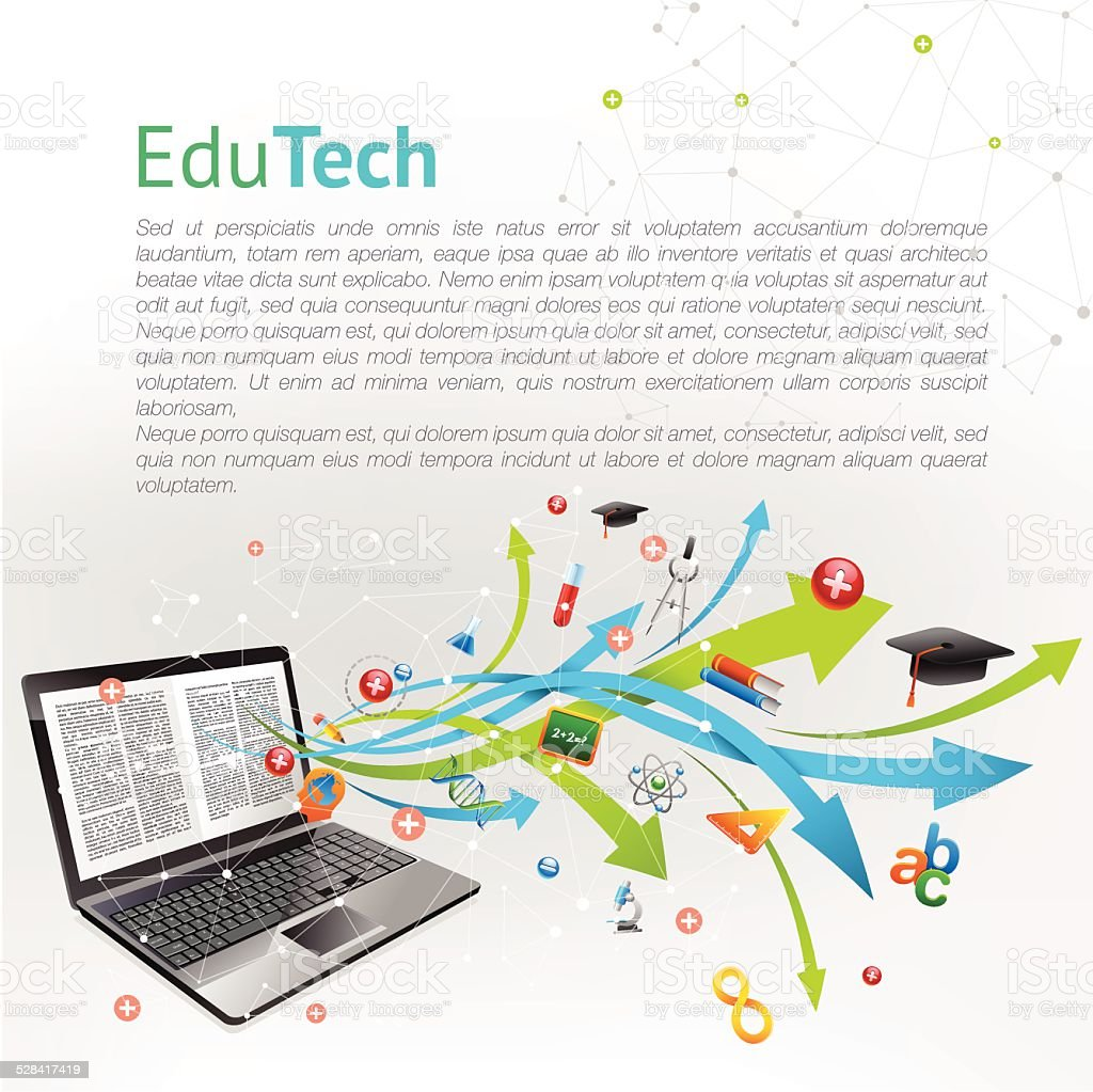 Online education vector art illustration