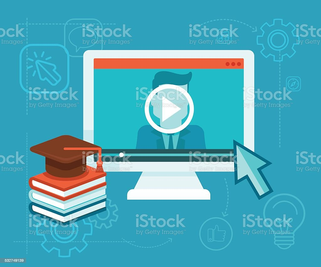 Online education vector art illustration