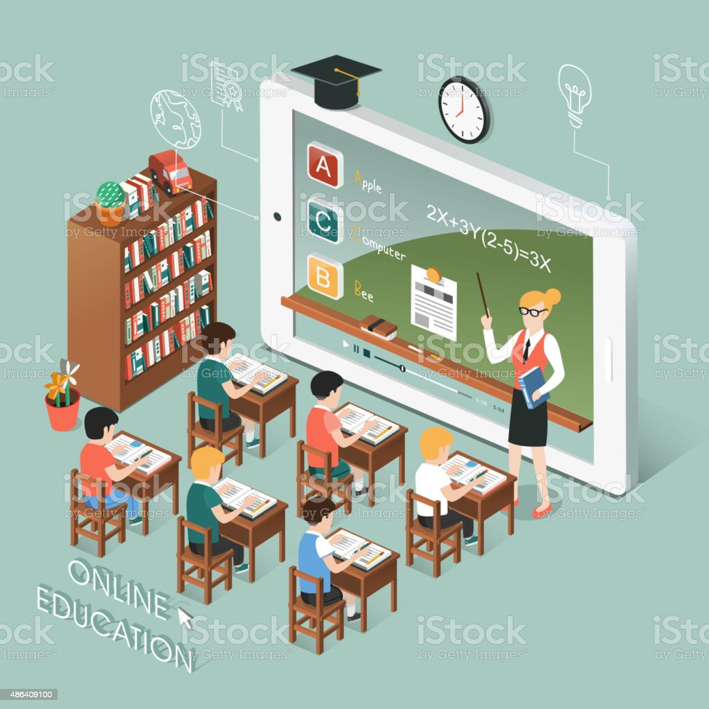online education with tablet vector art illustration