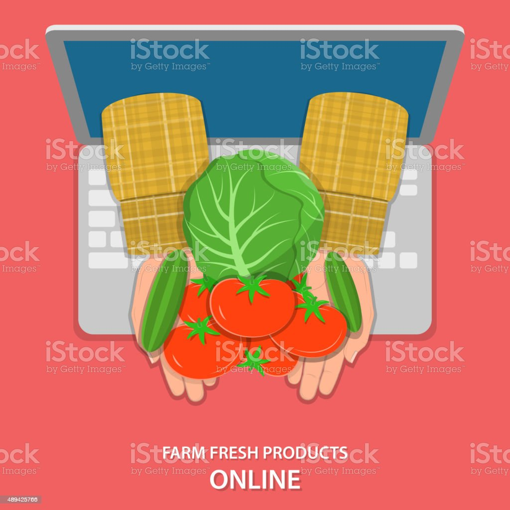 Online farm products flat vector concept. vector art illustration