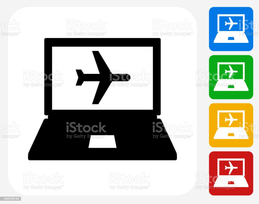 Online Flights Icon Flat Graphic Design vector art illustration