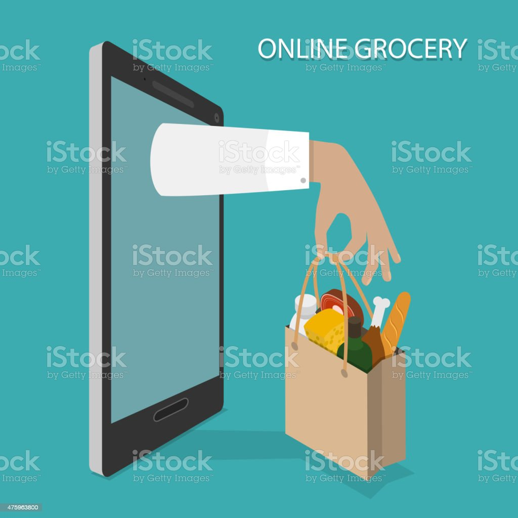 Online Grocery Ordering, Delivery Vector Concept. vector art illustration