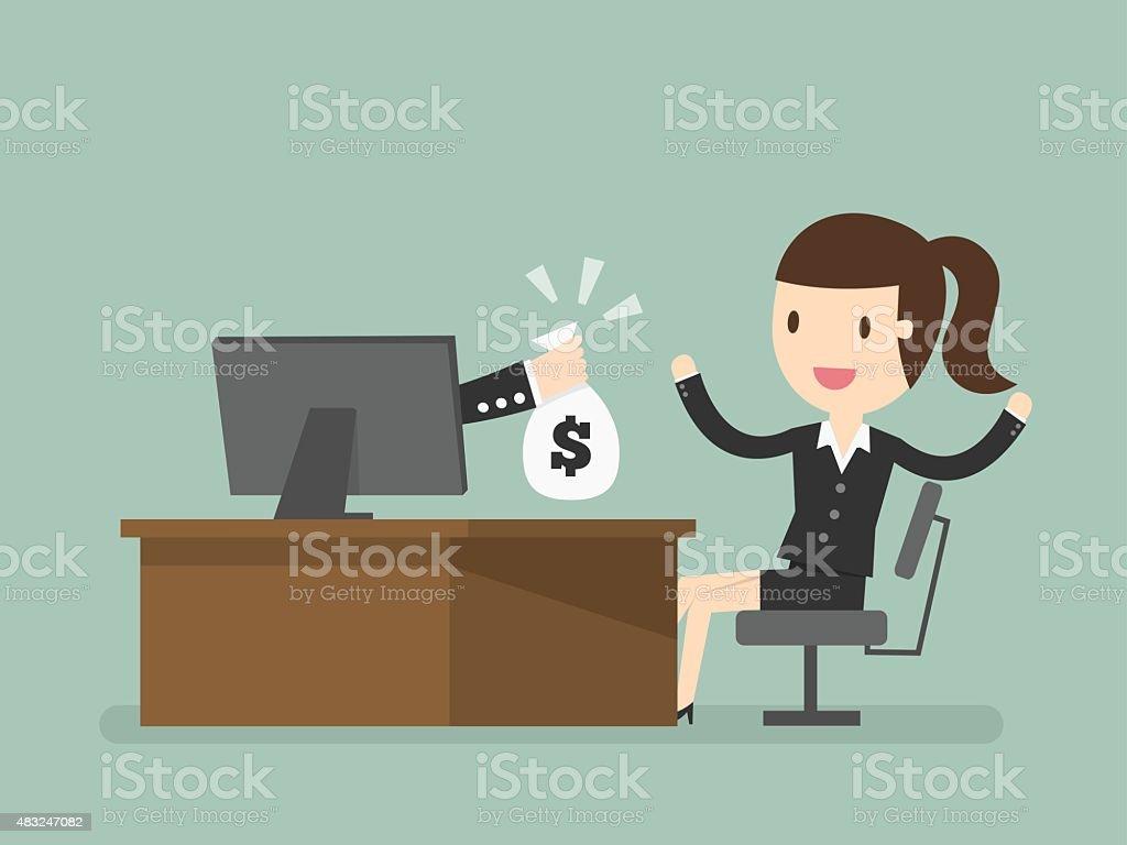 online income vector art illustration
