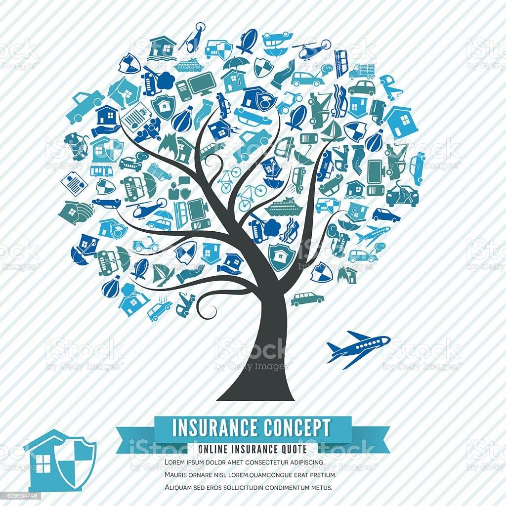 Online Insurance Concept vector art illustration