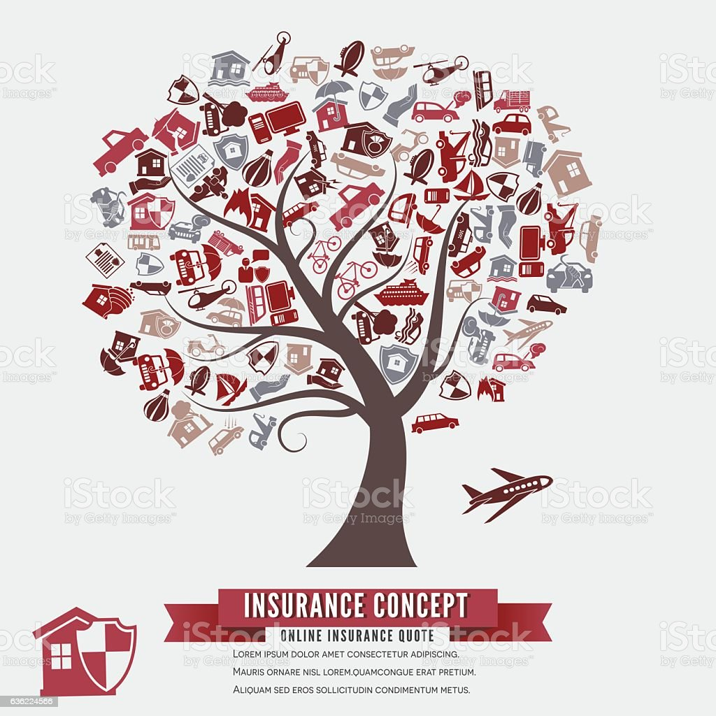 Online Insurance Concept with Icons In A Tree Shape vector art illustration
