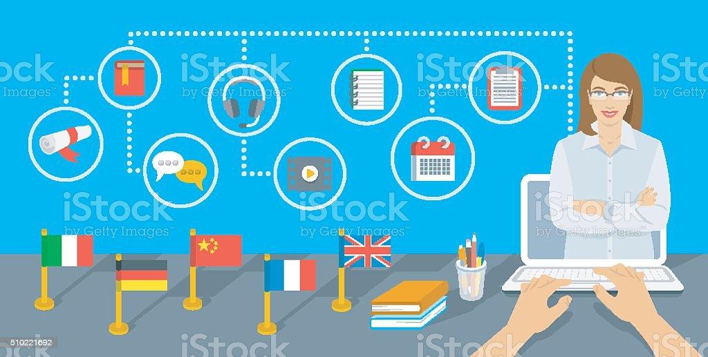 Online Internet Language courses flat vector infographic element vector art illustration