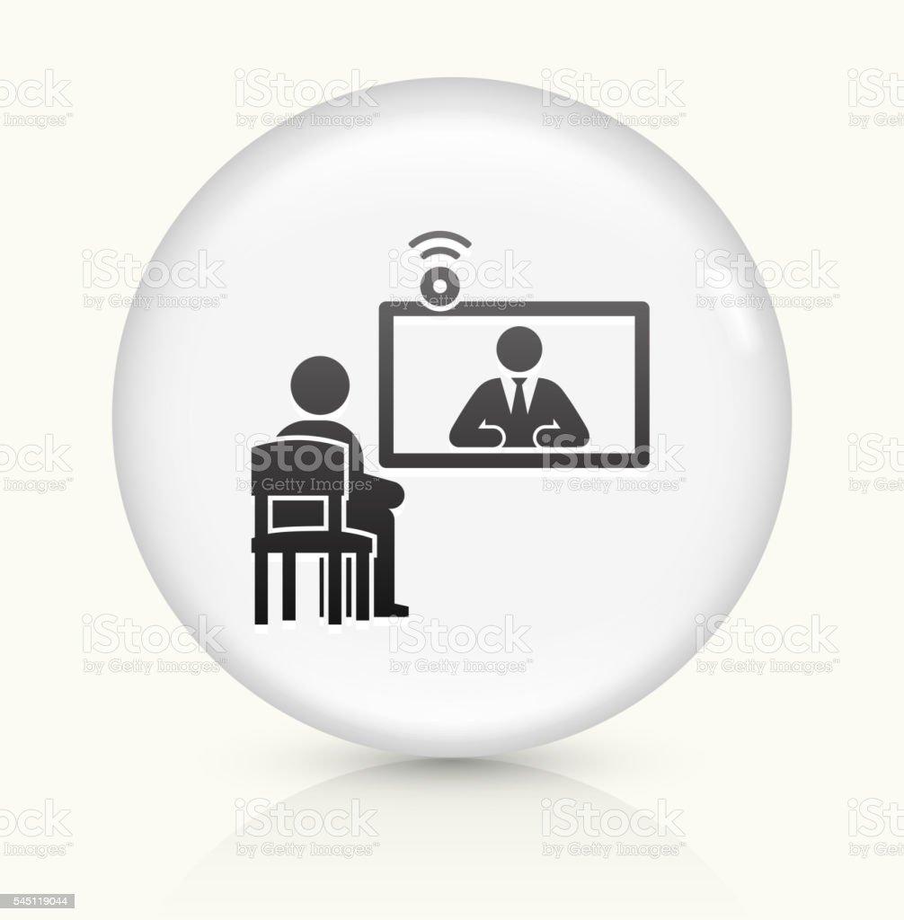 Online Interview icon on white round vector button vector art illustration