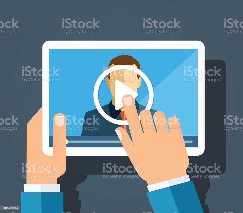 Online learning vector art illustration