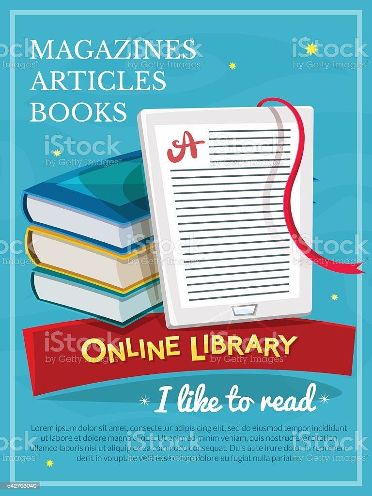 Online library design, vector illustartion vector art illustration