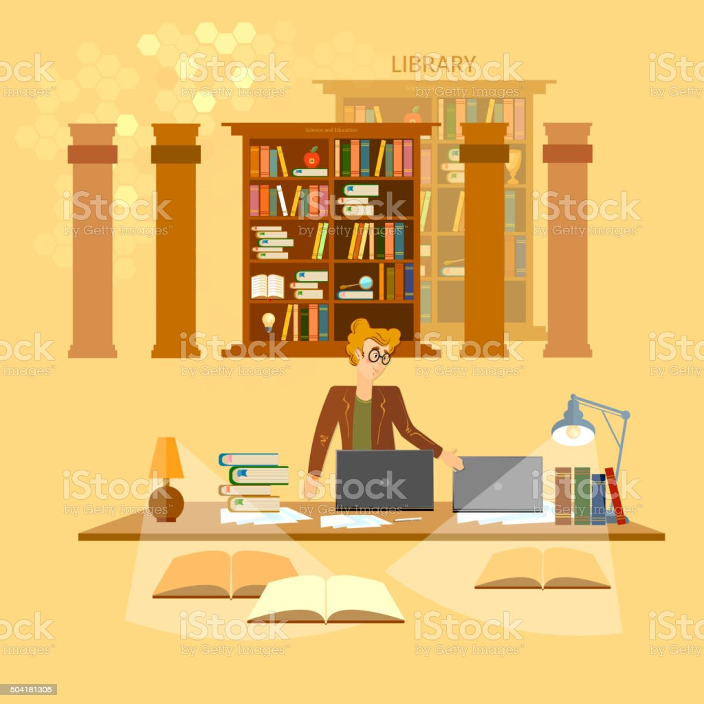 Online library education concept bookcases librarian vector art illustration