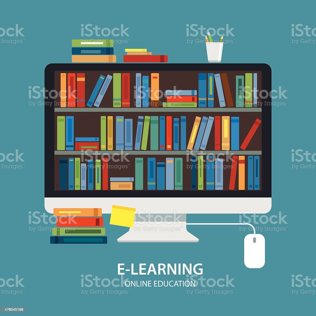 online library education concept flat design royalty-free stock vector art