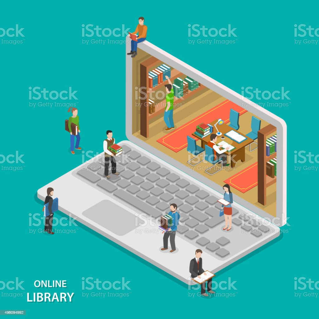 Online library flat isometric vector concept. vector art illustration