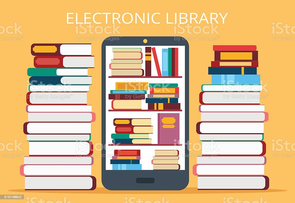 Online library in mobile phone vector art illustration