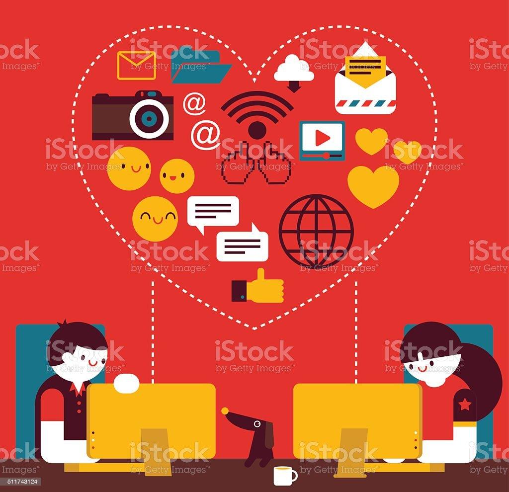 Online Love vector art illustration